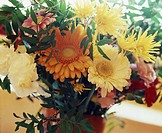 Colourful bunch of flowers with gerbera and chrysatemum