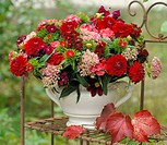 Red bunch of flowers with Dahlias
