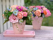 Bunch of roses in pastel shades