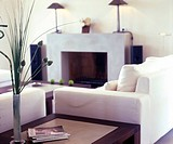 Fireplace room in white