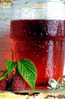 Glass of raspberry tea
