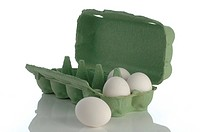 Egg carton with white chicken eggs