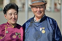 Mongolian couple dressed for a ceremony, Ulaan Baatar, Mongolia No releases available