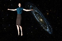 Businesswoman in outer space