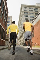 Runners in urban setting