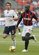 daniele conti and clarence seedorf , milano 2009, serie a football championship 2008_2009, milan_cagliari
