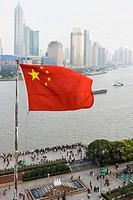 Chinese flag and pudong shanghai (thumbnail)