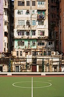 Basketball court and building in hong kong