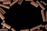 Chocolate biscuits on a black background