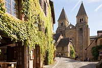 France, Midi Pyrenees, Aveyron, Conques St Foy Abbey The village is built on a hillside, with narrow Medieval streets The Sainte Foy Abbey Church was ...