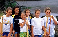 A girls´ outrigger canoe team, Hawaii.
