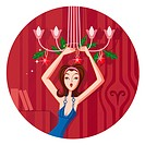 An Aries woman hanging ornaments off a chandelier (thumbnail)