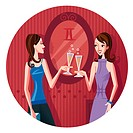 Two Gemini women having a champagne toast