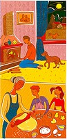 A family making cookies and relaxing next to the fireplace (thumbnail)