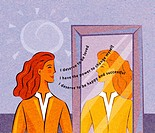 A woman looking at herself in the mirror and saying positive affirmations (thumbnail)