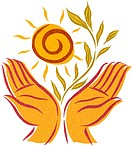 Open hands with a sun and growing plant