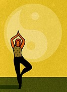 A woman doing yoga and a large ying yang symbol