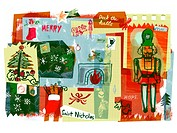 A Christmas collage of a nutcracker,Christmas gifts,stockings and trees