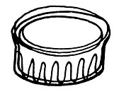 A black and white illustration of a ramekin