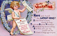 Vintage Valentine postcard with a cupid newspaper boy
