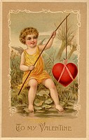 A vintage Valentines Day card with a cupid fishing a heart (thumbnail)