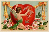 A vintage Valentines card with a cherub patching up a broken heart (thumbnail)