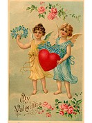 A vintage Valentine postcard with two angels holding a heart and forget_me_not flowers