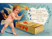 A vintage Valentines card with cupid striking matches