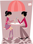A couple having drinks at a cafe (thumbnail)