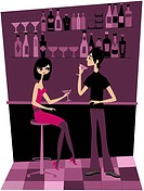 A couple having drinks at a bar