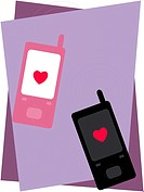 Two cell phones with hearts on them