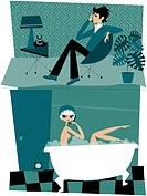 A montage illustration of a man talking on the phone to a woman in a bubble bath