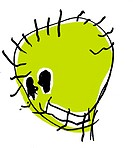 A childlike drawing of a green monster