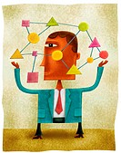 A businessman holding different connected shapes (thumbnail)