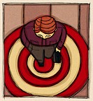 A birds eye view of a businessman with a suitcase on a bulls eye target