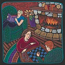A family playing chess and reading next to a fire in a log cabin