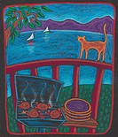 A BBQ and a cat on a patio looking over the lake with sailboats