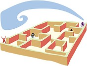 People making their way through a maze