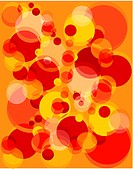 Red and orange vibrating bubbles pattern