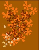 Orange flower burst pattern on a brown background (thumbnail)