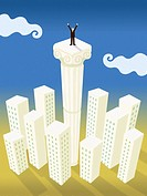 A businessman standing on top of a column taller than all the buildings in a city