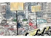 People at an outdoor cafe (thumbnail)