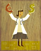 A physician holding a Dollar sign in one hand and a Euro sign in the other