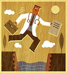 A doctor holding a briefcase and files jumping across a canyon