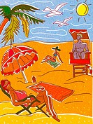 People relaxing and suntanning on a beach