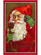Vintage Christmas card of Santa Claus making a phone call