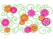 Whimsical orange and pink flowers on green vines