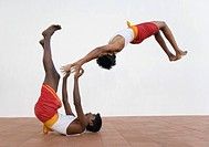 Two people practicing kalarippayattu