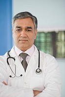 Portrait of a doctor in a hospital, Gurgaon, Haryana, India