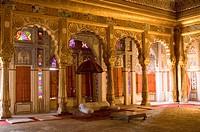 Interiors of a fort, Moti Mahal, Mehrangarh Fort, Jodhpur, Rajasthan, India